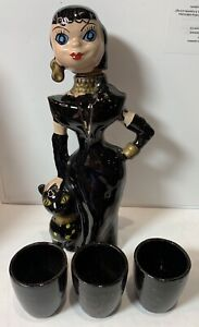 """Vintage Woman & Black Cat Decanter 3 Shot Glasses Red Clay Made in Japan 8 1/2"""""""
