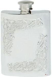 Framed Celtic Serpents Hip Flask 6oz Pewter Kidney Shape Screw Top Engravable