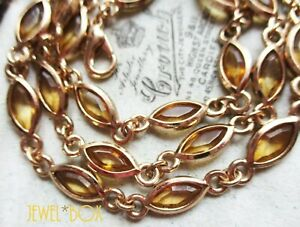 VINTAGE OPEN BACK CITRINE MARQUISE CRYSTAL GOLDEN BEZEL CHAIN RIVIERE  NECKLACE