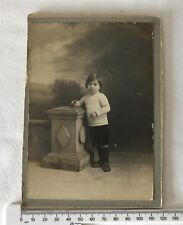 Antique Edwardian Matted Photo of Child with Wooden Toy