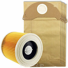 KARCHER Wet & Dry Vacuum Cleaner Filter + 5 Pk Dust Bags A2204 A2234PT A2534