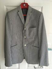 LAMBRETTA Men's Suit Blazer Jacket Size 40R Black / White Checkered