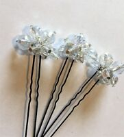 3X CLEAR AB CRYSTAL CLUSTER HAIR PINS BRIDE BRIDESMAID PROM PURITY COMMUNION