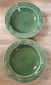 "2x Bordallo Pinheiro Portugal Green Bunny Rabbit Lattice Rimmed Soup Bowls 9"""