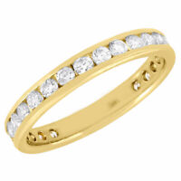 14k Yellow Gold Diamond Channel Set Wedding Engagement Eternity Band Ring 1 Ct.