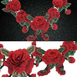 Embroidery Rose Flower Applique Badge Floral Collar Iron Sew On Patch R