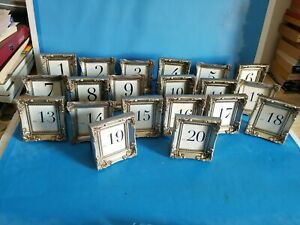 SPECIAL OCCASION TABLE NUMBERS IN RUSTIC SILVER COLOR FRAME.NUMBERS 1 TO 20.*A3*