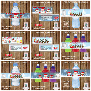 PERSONALISED CHRISTMAS PARTY ITEMS FRUIT SHOOT & WATER LABELS KITKAT WRAPPERS