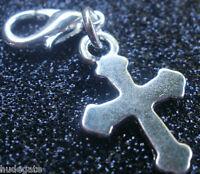 10 Silver Tone Cross Clip on Charms for Bracelets Wholesale Jewellery Job Lot
