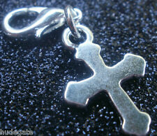 10 Silver Tone Cross Clip on Charms for Bracelets Wholesale Jewellery Job Lot