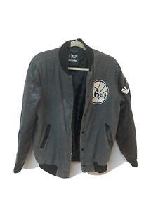 NBA Men's Grey & Black Philadelphia Sixers Bomber Jacket Size S Bust-21