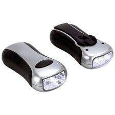 2pc Emergency LED Bulbs Flashlight Set Wind Up Hand Crank Torch Lamp Camping