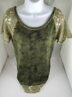 Womens JESSICA SIMPSON Green Floral Studded Knit Cotton Blend Wide Neck Small