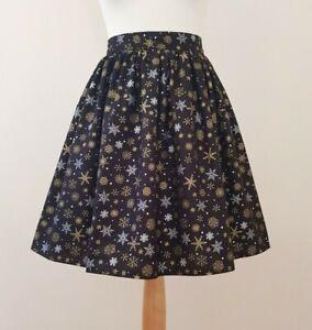 Christmas Snowflakes Mini Skirt + Hair Bow Size 18 - Gold Silver Festive Xmas
