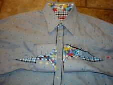 MENS ROBERT GRAHAM TINY PLAID WITH BLUE EMBROIDERED DOT DRESS SHIRT L