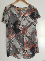 Katies Womans Floral Blouse Size 14 Frill Sleeves Top Casual