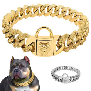 Skull Gold Chain Dog Collar Extra Heavy Big Cuban Link Stainless Steel Pitbull