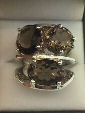 Custom Sterling Silver Smokey Quartz 3-Stone 10ct+ TCW Ring (Size 8 5/8)