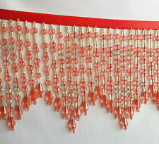 "Rose Red 4"" with a white bead in flower beaded fringe with gold accents  #552"