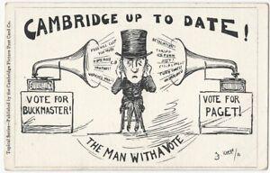 1906 Cambridge England Political Satire Paget vs. Buckmaster Election Postcard