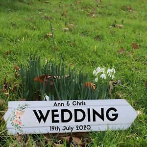 Floral wedding sign arrow - party reception parking photo booth bar