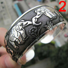 Tibetan Silver Plated Elephant Tibet Totem Bangle Jewelry Bracelet & gift added