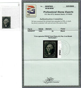 US Scott # 9X1P PROOF on BOND PAPER with 2003 CERTIFICATE of AUTHENTICITY #97653
