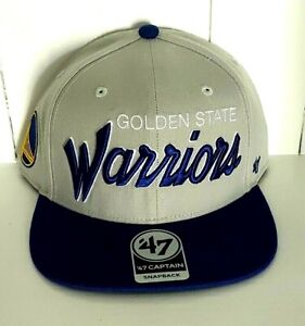 Golden State Warriors Hat '47 Captain Snapback Cap Stitched Script Logo NBA New