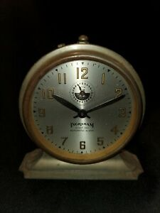 Antique Ingraham Eight Day Automatic Alarm- Bristol Conn. USA (b3)