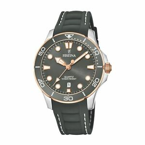 Festina F20502-5 Women's Grey Rubber Strap Wristwatch