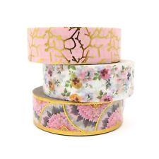 Washi Tape Floral Scalloped Gold Foil Pansy Flower Pink Crackle Gilded Set