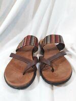 BORN Womens Brown Fabric Thumb Toe Flat Flip Flop Sandals Size 8 M