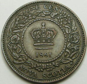 NOVA SCOTIA (Canadian Province) 1 Cent 1861 - Bronze - Victoria - XF - 1074 ¤