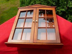"Vintage Wall Mount Hardwood CURIO CABINET 2 Glass Doors 3 Shelves 2.5 x 16 x 20"""