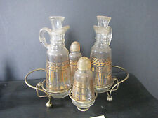 VINTAGE 4PC GLASS WITH GOLD PAINTED TABLE SET WITH CANTERS AND SHAKERS  5638O