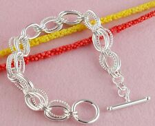 wholesale Silver T/O charm link chain bangle Bracelet Gift for Mother's Day