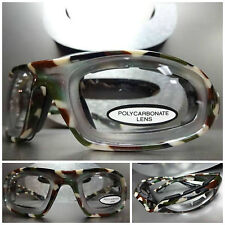 New HUNTING TACTICAL BIKER RIDING Camouflage Camo PADDED Clear Lens SUN GLASSES