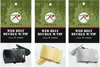 Buckle GI Type Replacement Military Web Belt Buckle & Tip Black Silver or Brass