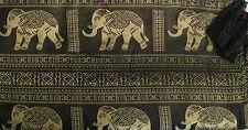 100% Thai Silk Tablecloth Elephant Design Black or Gold available 153x201cm