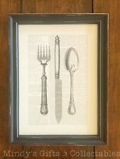 40cm Tall Vintage Style Wooden Fork Knife & Spoon Cutlery Picture Frame Wall Art