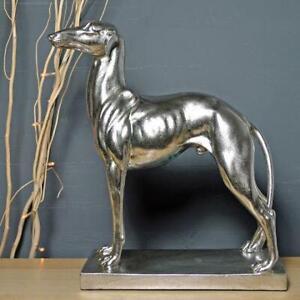 Silver Greyhound Sculpture Dog Statue Figurine Ornament
