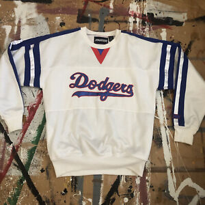 VTG STARTER 80s LA LOS ANGELES DODGERS WHITE BLUE SCRIPT SWEATSHIRT M BASEBALL