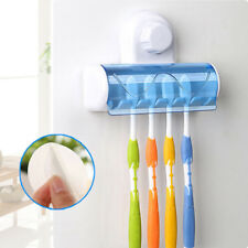 5 Holes Bathroom Toothbrush Holder Wall Mount Suction Cup Stick Storage Rack