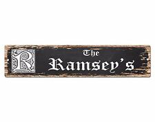 SPFN0373 The RAMSEY'S Family Name Street Chic Sign Home Decor Gift Ideas