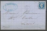 1866 Lettre 20c. N°14 Obl. par L'ETOILE CHIFFREE 24, R.de Cléry très rare X1082