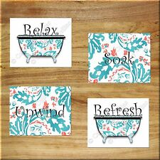 Coral Teal Floral Wall Art Print Picture Decor Bathroom Bathtub Relax Soak Quote