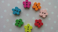 20 Tiny 11mm Cute Baby Wooden Buttons, Small Daisy Flower Shaped, Mixed Colour