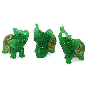 Feng Shui Set of 3 Green Jade Elephant Trunk Statues Wealth Figurine Home Decor