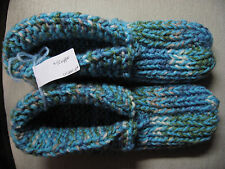 """New Amish Handmade Sky Blue Mix House Slippers Wms X Lg Mans Med/Large 10"""" WIDE"""