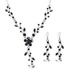 SET COLLANA + ORECCHINI STRASS NERI - Austrial Crystal Necklace + Earrings